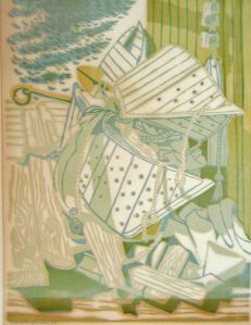 """Träsnitt av Sven-Olof Ehrén 1956. Motiv: """"Ett par ålesompar, en gammel drägg ô e grann aánt pôrrgass udaföre Allans sjöbu i Sprenget""""."""